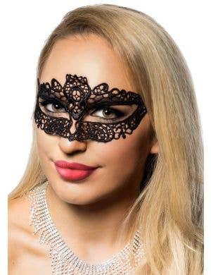 Petite Wide Eye Black Lace Masquerade Mask