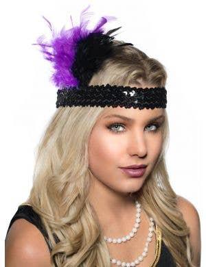 1920's Feathered Flapper Headband - Purple