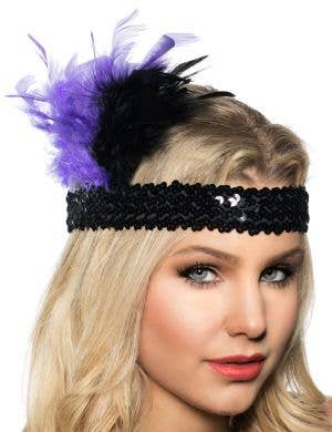 1920's Feathered Flapper Headband - Purple