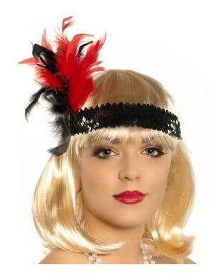 1920's Feathered Flapper Headband - Red