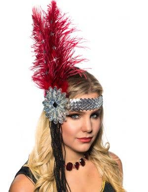 1920's Deluxe Flapper Headband in Red and Silver