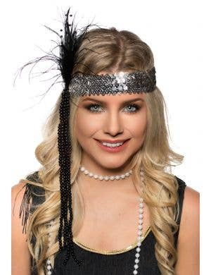 Charleston Soft Feather Flapper Headband - Black with Silver