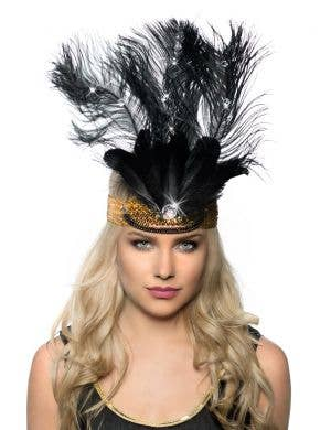Tall Feather Showgirl Headpiece - Black with Gold