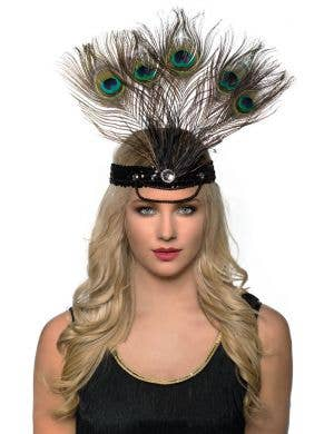 Tall Peacock Feather Showgirl Headpiece