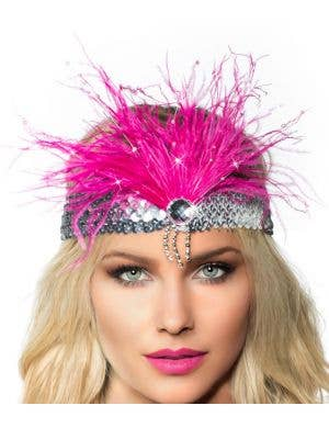 Gatsby Soft Feather Flapper Headband - Pink with Silver