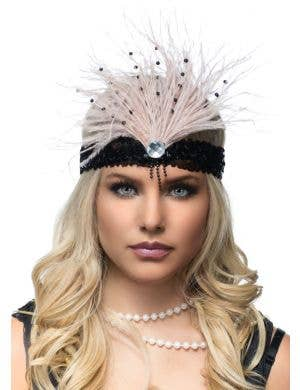 Gatsby Soft Feather Flapper Headband - Champagne and Black