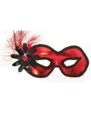 Side Feather Red Vinyl Masquerade Mask