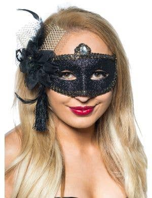 Celebration Glitter Masquerade Mask - Black