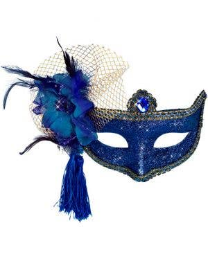 Celebration Glitter Masquerade Mask - Blue