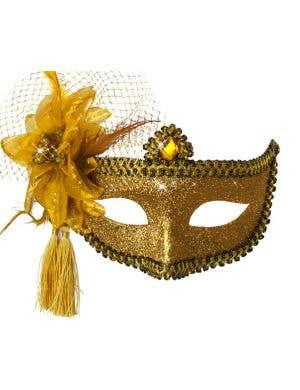 Celebration Glitter Masquerade Mask - Gold