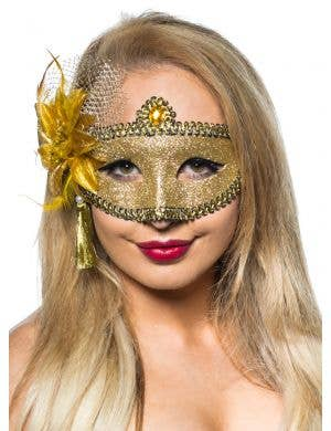 Celebration Glitter Masquerade Mask - Gold