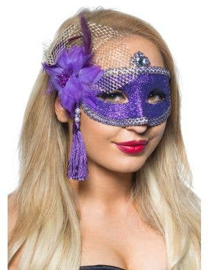 Celebration Glitter Masquerade Mask - Purple