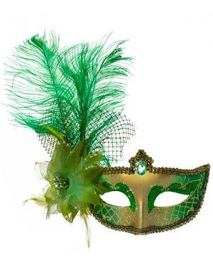 Victorian Masquerade Mask - Green and Gold
