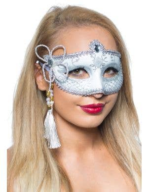 Tassel Venetian Masquerade Mask - White and Silver