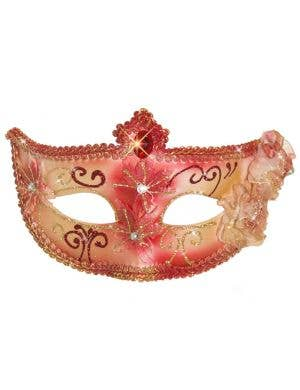 Edwardian Adult's Masquerade Mask - Red