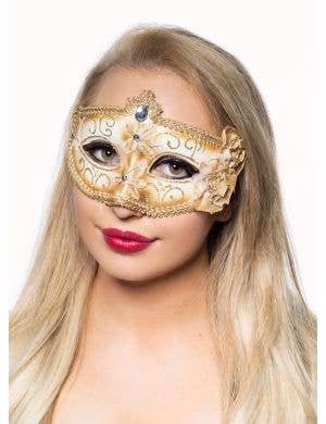 Edwardian Adult's Masquerade Mask - White
