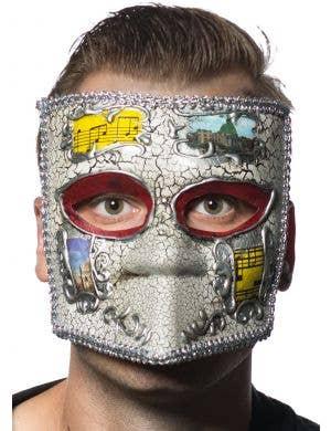 Medieval Men's Masquerade Mask - Silver