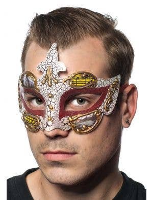 Baroque Men's Red Masquerade Mask