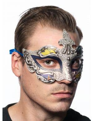 Baroque Men's Blue Masquerade Mask