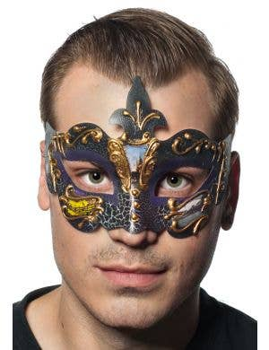 Baroque Men's Purple Masquerade Mask