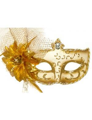 Antoinette White and Gold Masquerade Mask