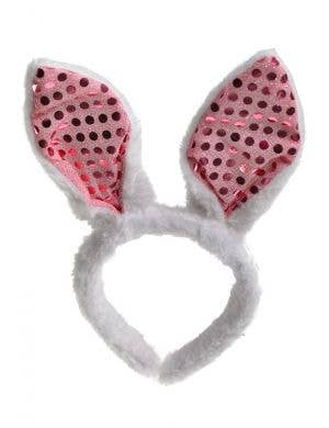 Plush White and Pink Sequinned Easter Bunny Ears