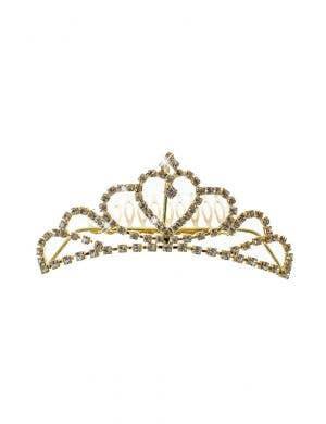 Gold Mini Tiara with Rhinestones Princess Costume Accessory