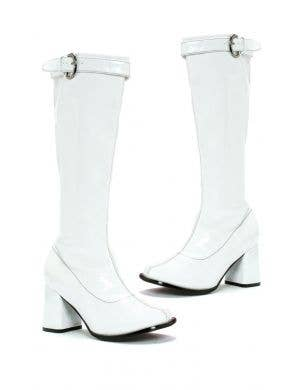 Hippie Women's White Knee High Costume Boots With Zipper