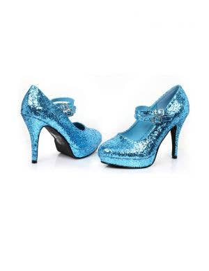 Cinderella Blue Glitter Women's Stiletto Costume Heels