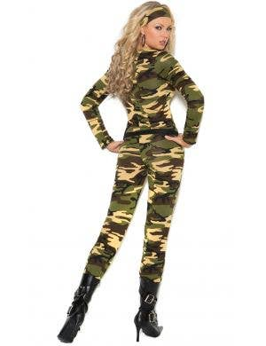 5e5b56489915 Sexy Women s Army Jumpsuit Fancy Dress Costume Front View Army Combat  Warrior Sexy Women s Costume