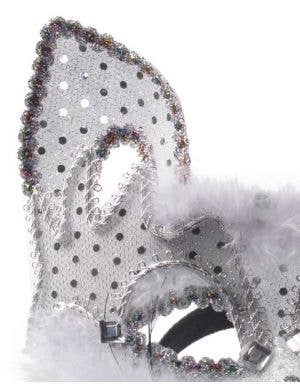 Carnival Cat Face Masquerade Mask - White