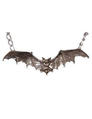 Gothic Silver Bat Halloween Costume Necklace