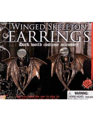 Gothic Winged Skeleton Halloween Earrings
