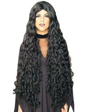 Mesmerelda Women's Extra Long Black Curly Costume Wig