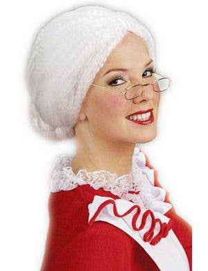 Mrs Santa Women's White Christmas Wig