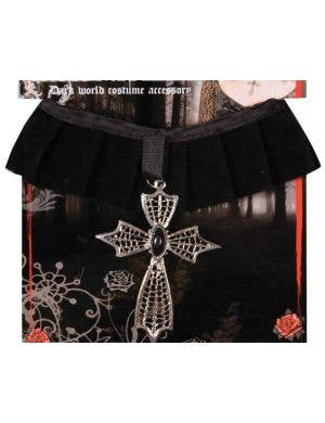 Velvet Halloween Choker with Cross Medallion