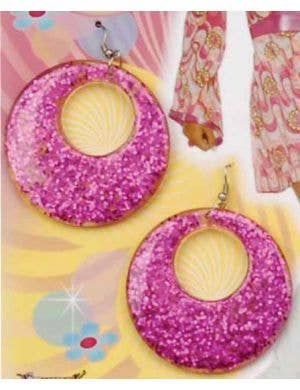 60's Glitter Mod Earrings - Magenta