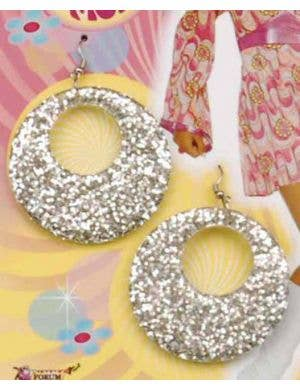 60's Glitter Mod Earrings - Silver