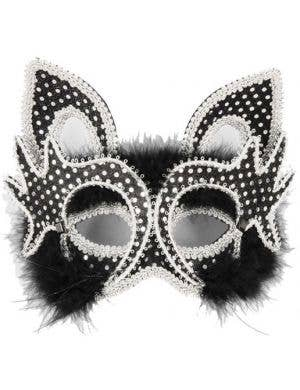 Carnival Cat Face Masquerade Mask - Black