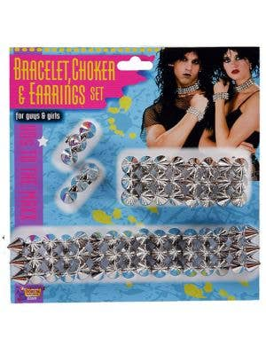 80's Silver Spiked Bracelet, Choker and Earrings Set