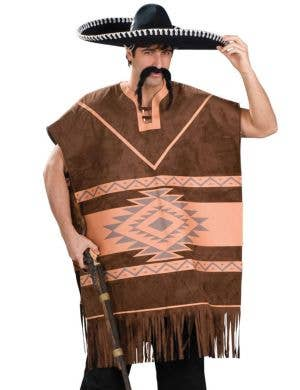 Brown Mexican Poncho Men's Costume
