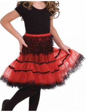 Lace Trimmed Girls Petticoat - Black and Red