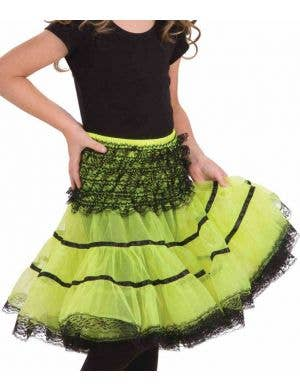 Lace Trimmed Girls Petticoat - Black and Green