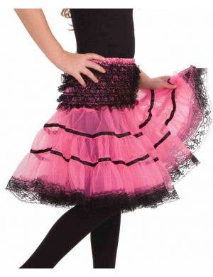 Lace Trimmed Girls Petticoat - Black and Pink
