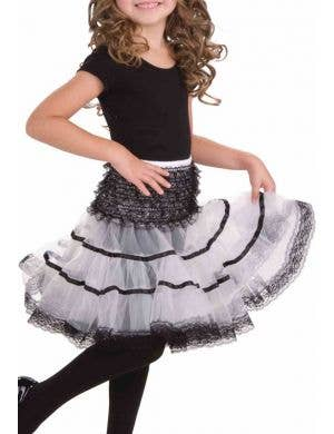 Lace Trimmed Girls Petticoat - Black and White