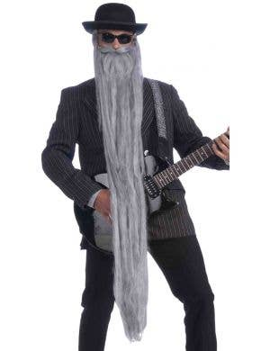 "ZZ Top 48"" Long Beard with Moustache - Grey"