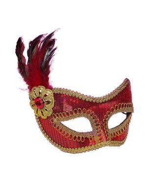 Sequined Feather Masquerade Mask - Red & Gold