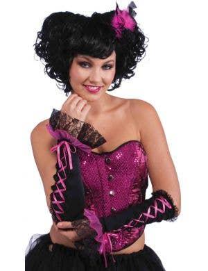 Burlesque Pink and Black Long Fingerless Gloves