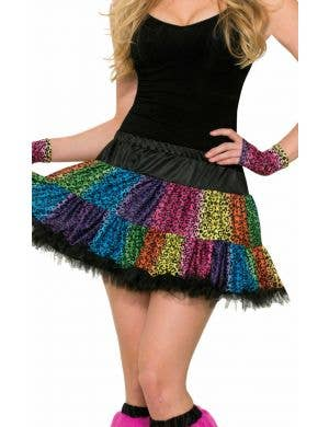Leopard Print Women's Rainbow Costume Skirt