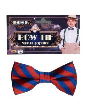 Roaring 20s Red and Blue Striped Costume Bow Tie